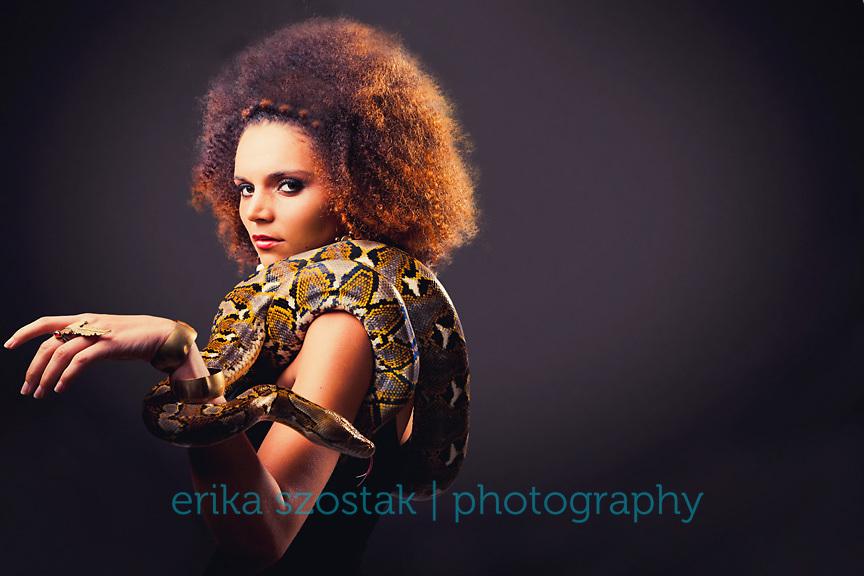 Inspired by the myth of Medusa. <br /> <br /> Fashion: Belles Bejewelled<br /> MUA: Lovisa Fredriksson<br /> Hair: Forde Hair North Street<br /> Model: Amy Lynch / Sapphires Model Management<br /> Snake: East Sussex Reptile &amp; Amphibian Club<br /> Location: Velvet Goldmine Studio