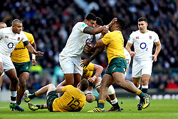 Nathan Hughes of England hands off Scott Sio of Australia - Mandatory by-line: Robbie Stephenson/JMP - 03/12/2016 - RUGBY - Twickenham - London, England - England v Australia - Old Mutual Wealth Series