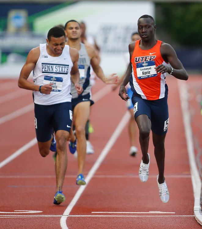 UTEP's Emmanuel Korir, right, beats Penn State's Isaiah Harris to the finish line to win the men's 800 meters in the time of 1 minute, 45.03 seconds on the third day of the NCAA outdoor college track and field championships in Eugene, Ore., Friday, June 9, 2017. Harris finished second in the time of 1 minute, 45.40 seconds. (AP Photo/Timothy J. Gonzalez)