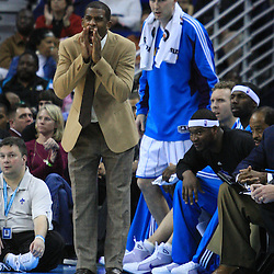 06 February 2009: New Orleans Hornets guard Chris Paul cheers on his team from the bench during a 101-92 win by the New Orleans Hornets over the Toronto Raptors at the New Orleans Arena in New Orleans, LA.
