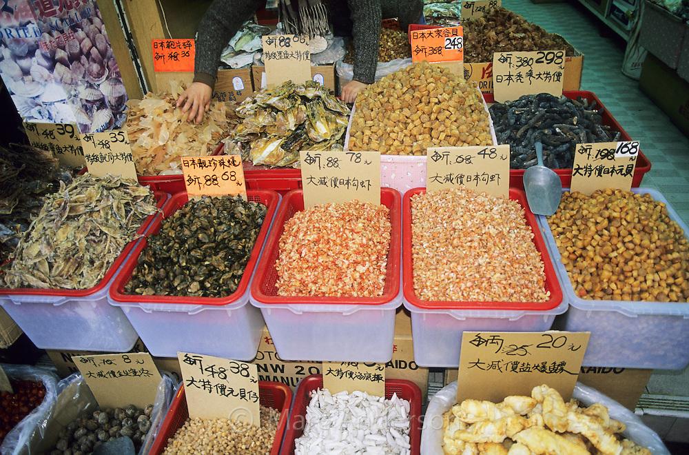 A variety of dried food, Tai Po Market, Hong Kong, China.