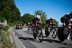 Team Sunweb on their way to winning Giro Rosa 2018 - Stage 1, a 15.5 km team time trial in Verbania, Italy on July 6, 2018. Photo by Sean Robinson/velofocus.com