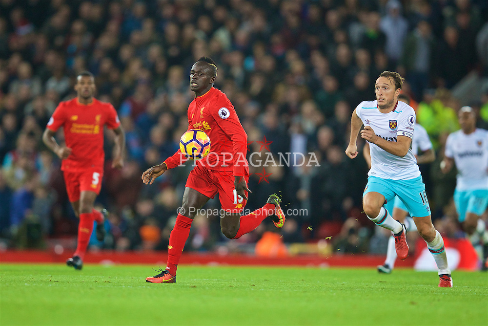 LIVERPOOL, ENGLAND - Sunday, December 11, 2016: Liverpool's Sadio Mane in action against West Ham United during the FA Premier League match at Anfield. (Pic by David Rawcliffe/Propaganda)