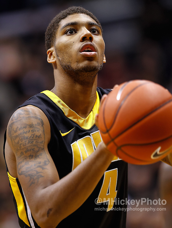 WEST LAFAYETTE, IN - JANUARY 27: Roy Devyn Marble #4 of the Iowa Hawkeyes seen during the game against the Purdue Boilermakers at Mackey Arena on January 27, 2013 in West Lafayette, Indiana. Purdue defeated Iowa 65-62 in overtime. (Photo by Michael Hickey/Getty Images) *** Local Caption *** Roy Devyn Marble