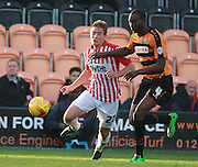 Exeter City midfielder David Wheeler & Barnet defender Bira Dembele race for the ball during the Sky Bet League 2 match between Barnet and Exeter City at The Hive Stadium, London, England on 31 October 2015. Photo by Bennett Dean.