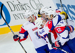 Sabahudin Kovacevic of Slovenia, Rok Pajic of Slovenia, Tomaz Razingar of Slovenia and David Rodman of Slovenia celebrate during ice-hockey match between Slovenia and Japan at IIHF World Championship DIV. I Group A Slovenia 2012, on April 16, 2012 in Arena Stozice, Ljubljana, Slovenia. (Photo by Vid Ponikvar / Sportida.com)