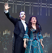 West End Live 2018 <br /> Trafalgar Square, London, Great Britain <br /> 16th June 2018 <br /> <br /> Excerpts from West End musicals perform live on stage in Trafalgar Square, London <br /> <br /> <br /> The Phantom of the Opera <br /> <br /> Photograph by Elliott Franks