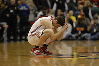 Ohio State forward Jon Diebler (33) crouches at midcourt prior to tip-off of the Big Ten Tournament semifinals in Indianapolis, on March, 11, 2011, at Conseco Fieldhouse. Ohio State defeated Michigan 68-61.