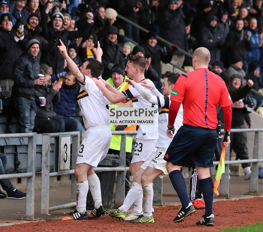 Mark Docherty celebrates during the  Dumbarton v Livingston  Scottish Championship 30 January 2016<br /> <br /> (c) Andy Scott | SportPix.org.uk