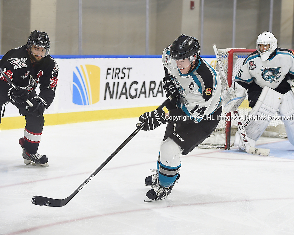 BUFFALO, ON - Sep 22, 2015 : Ontario Junior Hockey League game action between Oakville and Pickering at the Showcase, Stuart Fierheller #14 of the Lindsay Muskies skates with the puck during the second period.<br /> (Photo by Andy Corneau / OJHL Images)
