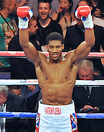 Picture by Alan Stanford/Focus Images Ltd +44 7915 056117<br />05/10/2013<br />Anthony Joshua wins his Heavyweight Contest at the O2 Arena, London.