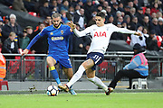AFC Wimbledon defender George Francomb (7) battles for possession with Erik Lamela of Tottenham Hotspur (11)  during the The FA Cup 3rd round match between Tottenham Hotspur and AFC Wimbledon at Wembley Stadium, London, England on 7 January 2018. Photo by Matthew Redman.