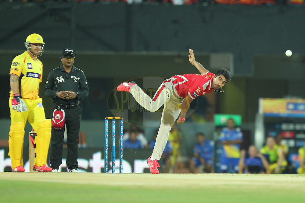 Karnveer Singh of Kings XI Punjab bowls during match 24 of the Pepsi IPL 2015 (Indian Premier League) between The Chennai Superkings and The Kings XI Punjab held at the M. A. Chidambaram Stadium, Chennai Stadium in Chennai, India on the 25th April 2015.Photo by:  Prashant Bhoot / SPORTZPICS / IPL
