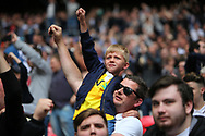 Millwall fans celebrate winning the Sky Bet League 1 play-off final at Wembley Stadium, London<br /> Picture by Glenn Sparkes/Focus Images Ltd 07939664067<br /> 20/05/2017