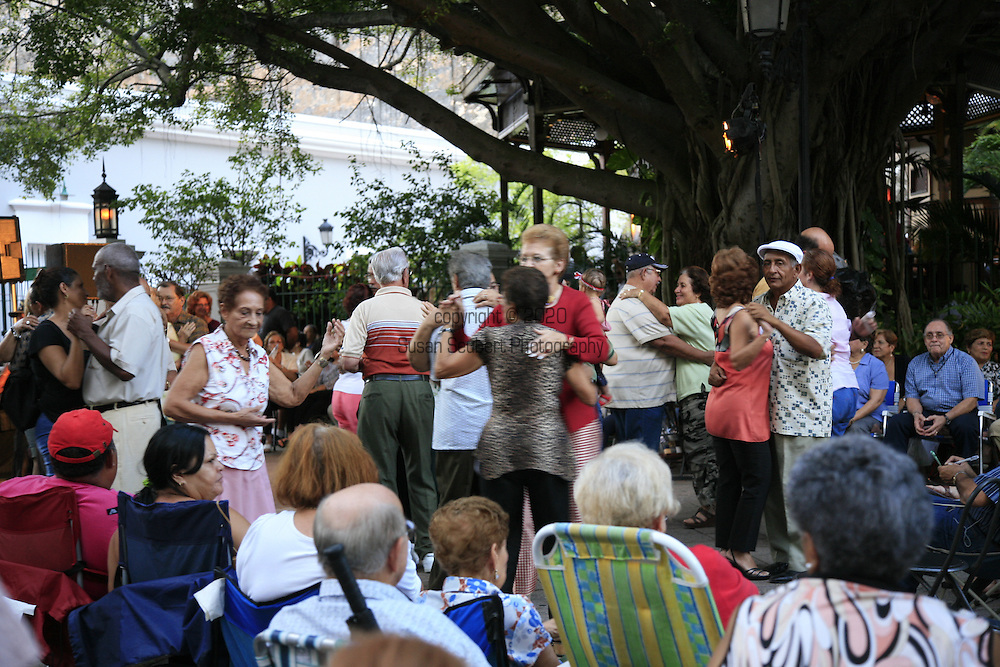 outdoor dancing in the Barrio of Old San Juan, Puerto Rico