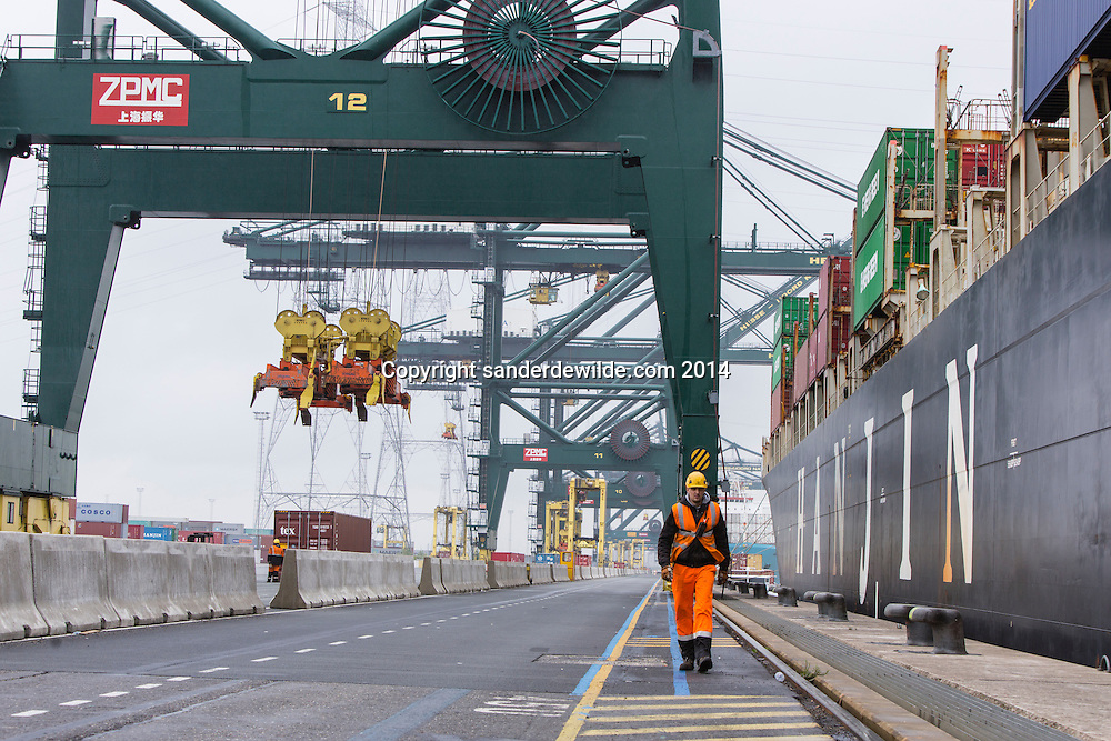 Man walks in port of Antwerp at the Deurganckdok which  is set to give more and larger container ships access to the Port of Antwerp