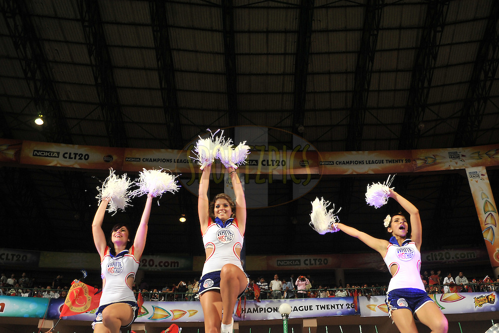 Cheerleaders during match 1 of the NOKIA Champions League T20 ( CLT20 )between the Royal Challengers Bangalore and the Warriors held at the  M.Chinnaswamy Stadium in Bangalore , Karnataka, India on the 23rd September 2011..Photo by Pal Pillai/BCCI/SPORTZPICS