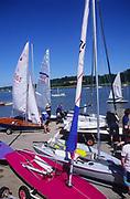 AT5CG1 Sails of sailing dinghy boats River Deben Woodbridge Suffolk