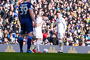 Leeds United midfielder Pablo Hernandez (19) and Leeds United midfielder Jack Harrison (22) during the EFL Sky Bet Championship match between Leeds United and Huddersfield Town at Elland Road, Leeds, England on 7 March 2020.