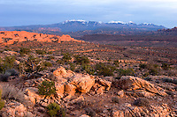 La Sal Mountains at Sunset from Doc Williams Viewpoint, Arches National Park, Utah