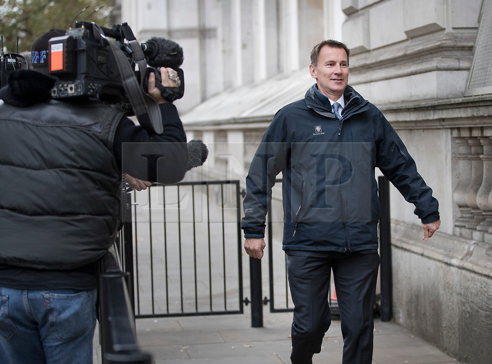 DATE CORRECTION © Licensed to London News Pictures. 31/10/2017. London, UK. Health Secretary Jeremy Hunt enters Downing Street for a cabinet meeting amid Westminster sexual harassment stories. Photo credit: Peter Macdiarmid/LNP