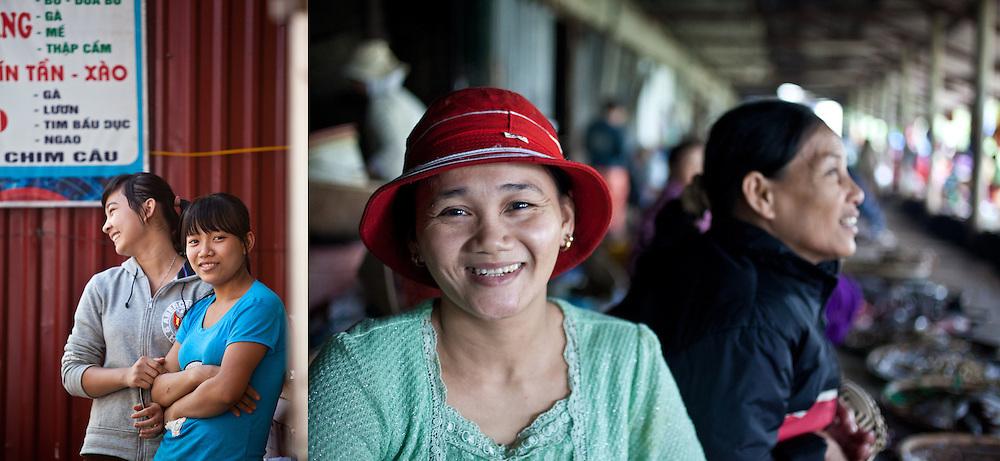 Restaurant servers in Hanoi, Vietnam (left). Fish vendors in Hue, Vietnam (right).