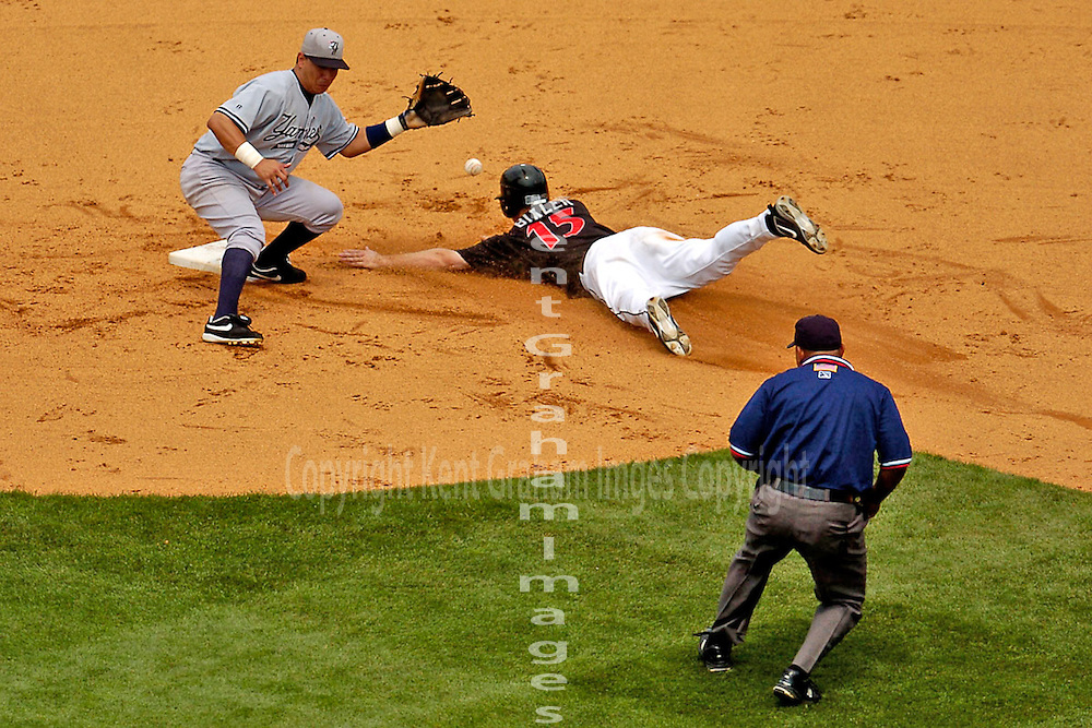 Safe at Second base, Indianapolis Indians base runner slides into second base.
