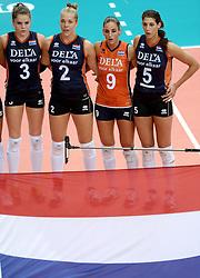01-10-2014 ITA: World Championship Volleyball Servie - Nederland, Verona<br /> Nederland verliest met 3-0 van Servie en is kansloos voor plaatsing final 6 / Yvon Beliën, Femke Stoltenborg, Myrthe Schoot, Robin de Kruijf