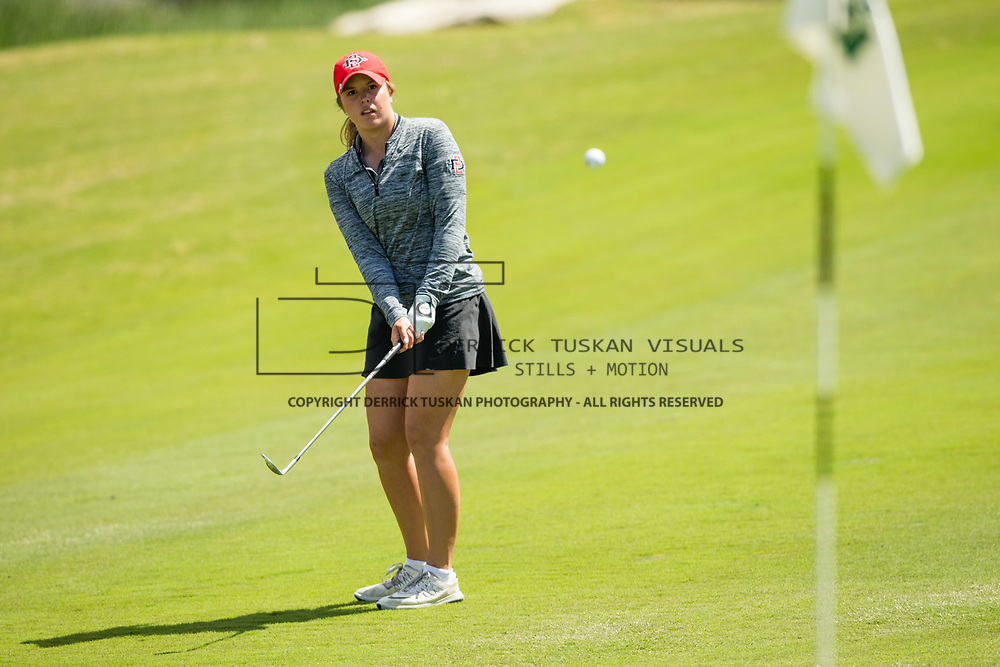 26 March 2018: Sarah Kjellker chips up to the green of the seventeenth hole during the opening round of the March Mayhem Tournament hosted by SDSU at the Farms Golf Club in Rancho Santa Fe, California. <br /> More game action at sdsuaztecphotos.com