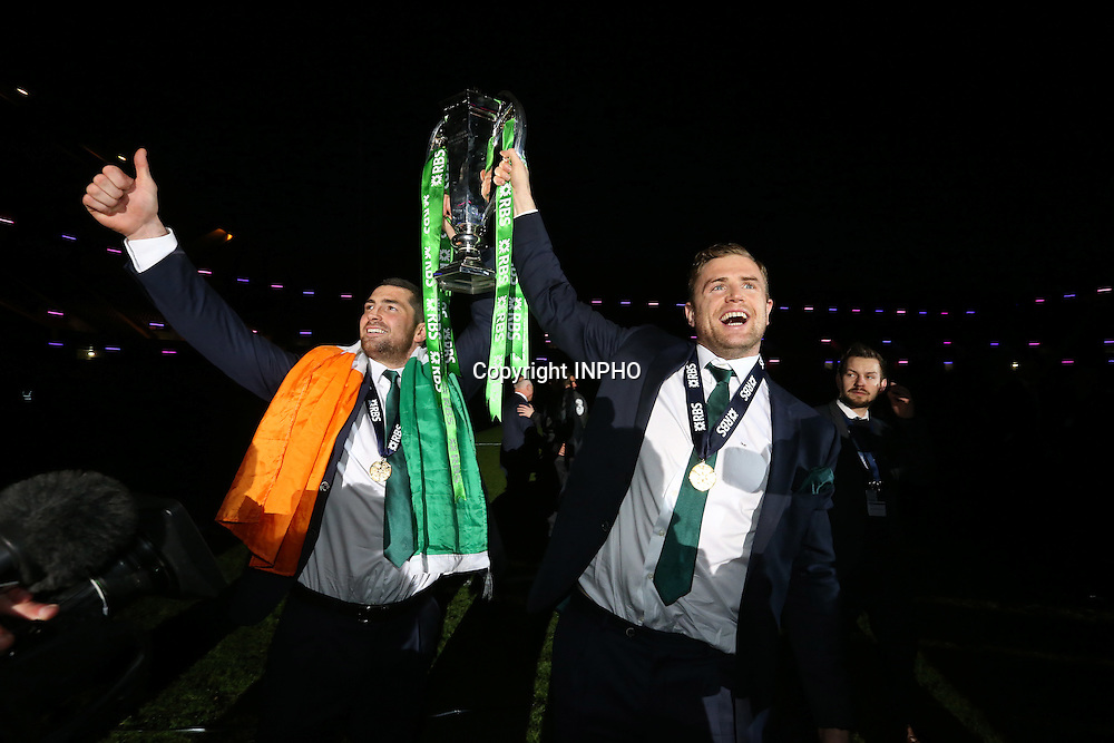 RBS 6 Nations Championship, BT Murrayfield, Edinburgh, Scotland 21/3/2015<br /> Scotland vs Ireland<br /> Ireland&rsquo;s Rob Kearney and Jamie Heaslip celebrate with the RBS 6 Nations Trophy<br /> Mandatory Credit &copy;INPHO/Billy Stickland