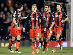 Bournemouth's Matt Ritchie celebrates his goal with his teammates - Photo mandatory by-line: Robbie Stephenson/JMP - Mobile: 07966 386802 - 06/03/2015 - SPORT - Football - Fulham - Craven Cottage - Fulham v AFC Bournemouth - Sky Bet Championship