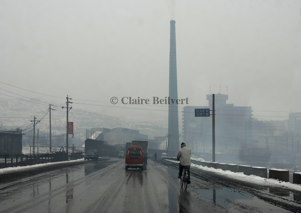 Tower of a coal power plant in Duizhen . Shanxi Province is China's largest coal supplier: 500 millions of tonnes per year. This Province is also the most polluted of China. More than 60 percent of the province 's surface water cannot be used due to pollution and the air is hardly breathable.