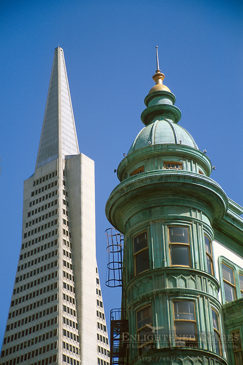 Modern and antique architecture of the TransAmerica Pyramid and the flatiron-style Columbus Tower (c.1905), North Beach, San Francisco, California