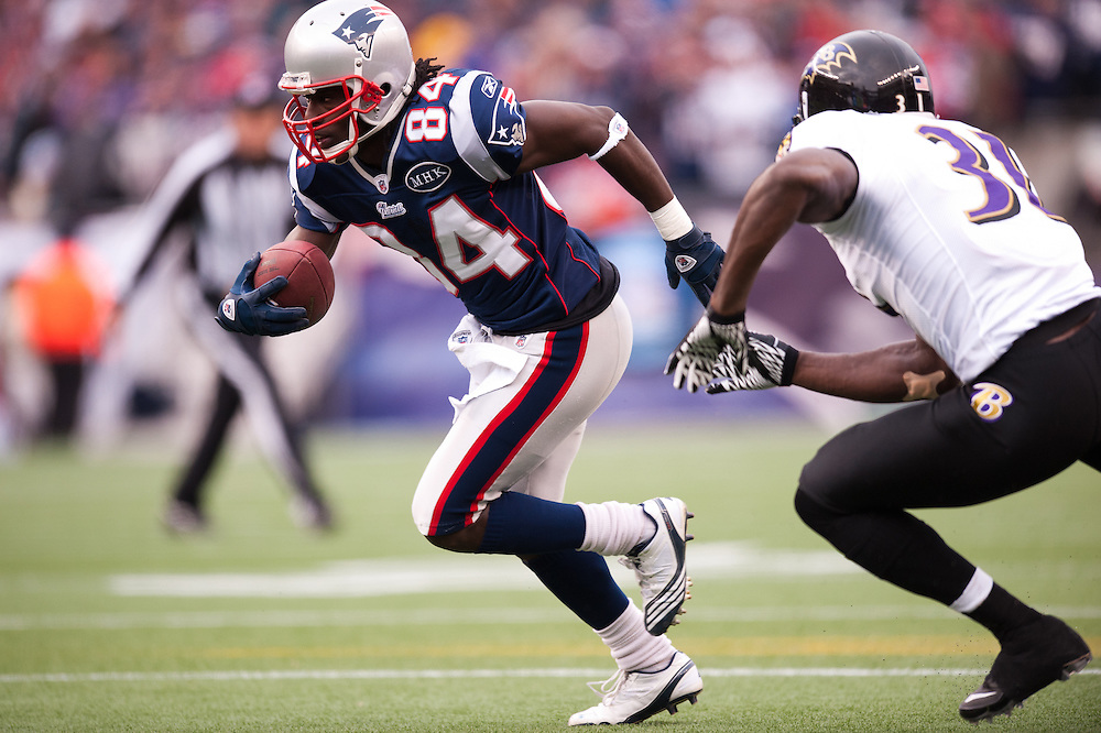 FOXBORO, MA - JANUARY 22: Wide receiver Deion Branch #84 of the New England Patriots runs the ball during the AFC Championship Game against the Baltimore Ravens at Gillette Stadium on January 22, 2012 in Foxboro, Massachusetts. (Photo by Rob Tringali) *** Local Caption *** Deion Branch
