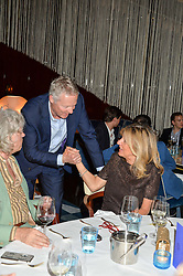 Left to right, SIR BOB GELDOF, RORY BREMNER and PRINCESS CHANTAL OF HANOVER at a dinner to celebrate the start of The Season held at Rivea, Bulgari Hotel, 171 Kightsbridge, London on 18th May 2016.