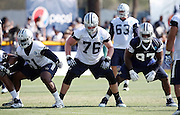 Dallas Cowboys offensive tackle Bryan Witzmann (76) blocks during the second day of the Dallas Cowboys 2016 NFL training camp football practice held on Sunday, July 31, 2016 in Oxnard, Calif. (©Paul Anthony Spinelli)