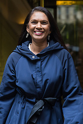 """London, UK. 25 September, 2019. Businessman Gina Miller leaves broadcasting studios in Westminster following an interview the day after the Supreme Court ruled that the Prime Minister's decision to suspend parliament was """"unlawful, void and of no effect"""". Credit: Mark Kerrison/Alamy Live News"""