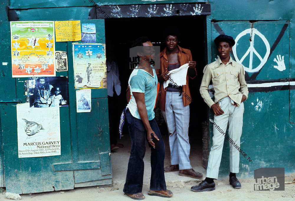 Rude Boys outside a rum Bar - Urban Jamaica