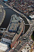 Nederland, Noord-Holland, Alkmaar, 28-04-2010; binnenstad met winkelcentrum aan de Kanaalkade..Town Overview with shopping mall..luchtfoto (toeslag), aerial photo (additional fee required).foto/photo Siebe Swart