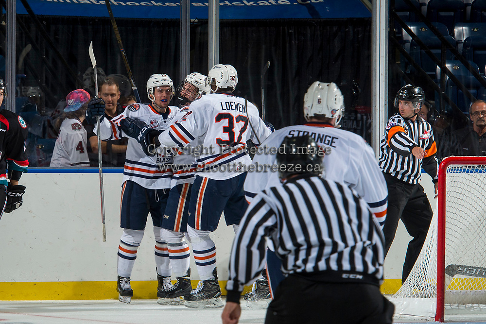 KELOWNA, CANADA - SEPTEMBER 5: The against the Kamloops Blazers celebrate a goal against the Kelowna Rockets on September 5, 2017 at Prospera Place in Kelowna, British Columbia, Canada.  (Photo by Marissa Baecker/Shoot the Breeze)  *** Local Caption ***