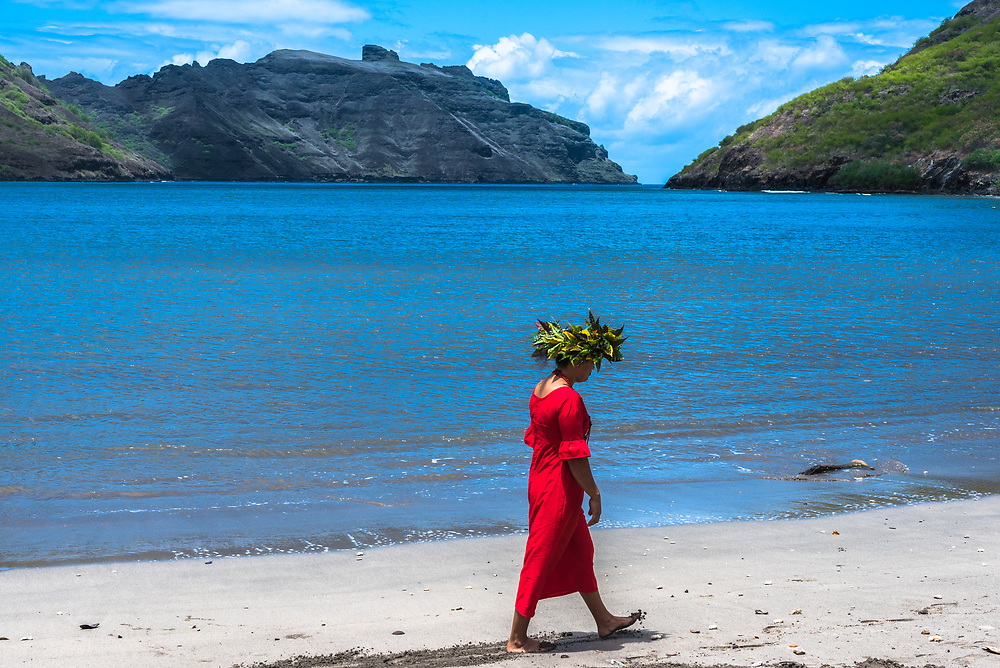 Nuku Hiva, French Polynesia -- March 23, 2018. Native tour guide walking on a beach in Nuku Hiva in the South Pacific. Editorial Use Only.