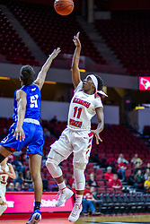 NORMAL, IL - January 03: Tete Maggett lobs a shot over Del'Janae Williams during a college women's basketball game between the ISU Redbirds and the Sycamores of Indiana State January 03 2020 at Redbird Arena in Normal, IL. (Photo by Alan Look)