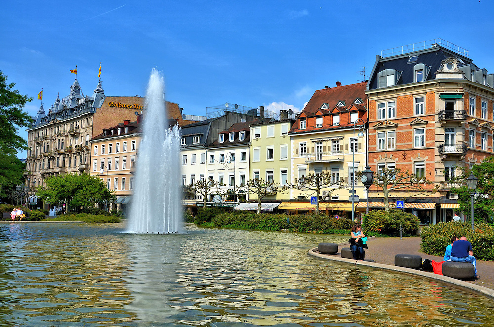 augustaplatz square and fountain in baden baden germany encircle photos. Black Bedroom Furniture Sets. Home Design Ideas