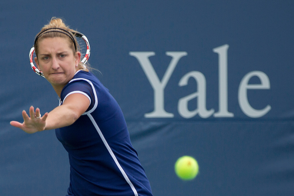 August 15, 2014, New Haven, CT:<br /> Timea Bacsinszky hits a forehand during a qualifying round match against Lauren Davis at the 2014 Connecticut Open at the Yale University Tennis Center in New Haven, Connecticut Friday, August 15, 2014.<br /> (Photo by Billie Weiss/Connecticut Open)
