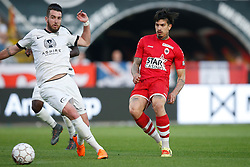 May 9, 2018 - Antwerp, BELGIUM - Eupen's Mathieu Peybernes and Antwerp's Joaquin Ardaiz fight for the ball during the Jupiler Pro League match between Royal Antwerp FC and KAS Eupen, in Antwerp, Wednesday 09 May 2018, on day eight of the Play-Off 2B of the Belgian soccer championship. BELGA PHOTO BRUNO FAHY (Credit Image: © Bruno Fahy/Belga via ZUMA Press)