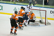 Robert Morris forward Brandon Denham celebrates a first period goal during the Atlantic Hockey final against RIT at the Blue Cross Arena in Rochester on Saturday, March 19, 2016.