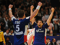 Handball EM Herren 2010 Finale Frankreich - Kroatien 31.01.2010 Nikola Karabatic (rechts) jubelt mit Guillaume Gille (links) nach dem Gewinn des EM-Titels