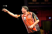 Mensur Suljovic during the 2016 Singha Beer Grand Slam of Darts at Wolverhampton Civic Hall, Wolverhampton, United Kingdom on 13 November 2016. Photo by Shane Healey.