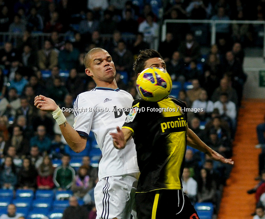 Santiago Bernabeu Stadium. Madrid. Spain. Liga BBVA. Real Madrid 4 vs Zaragoza 0. 3 RM Pepe, November 3, 2012. Photo by Belen D. Alonso / DyD Fotografos / i-Images...SPAIN  OUT