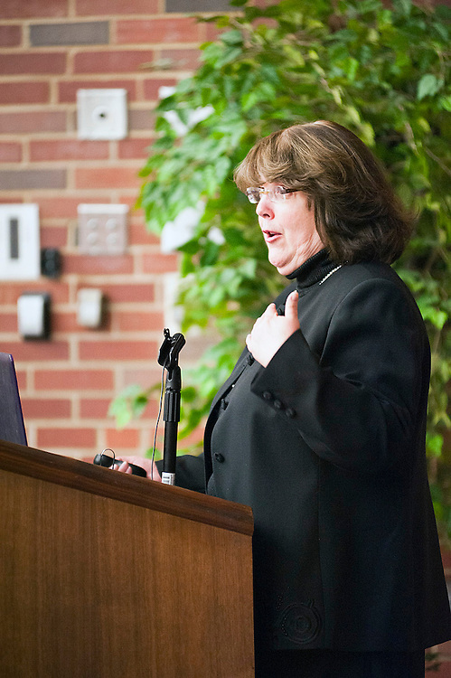 Christina Nyirati, assistant professor of nursing, talks during the grand rounds event in Irvine Hall on 4/24/12.   (Photo by Heather Haynes for the Ohio University College of Health Sciences and Professions.